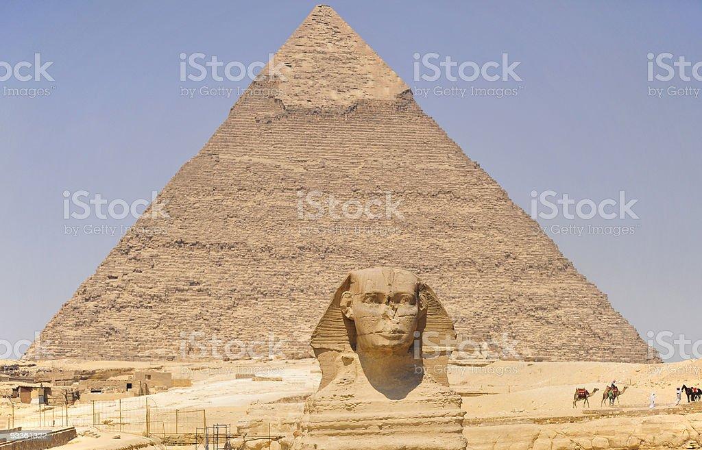 Pyramid and Sphnix royalty-free stock photo
