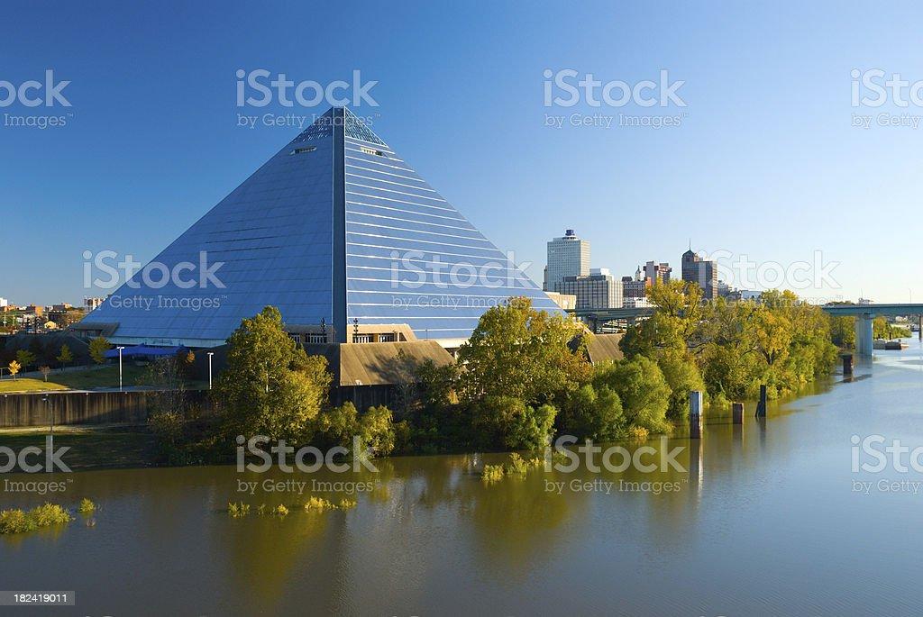Pyramid Arena and the Memphis, TN city skyline stock photo