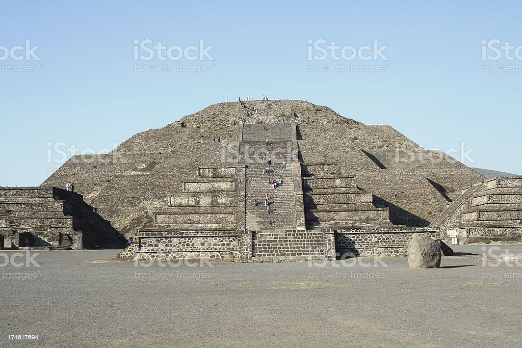 Pyramid at Teotihuacan stock photo