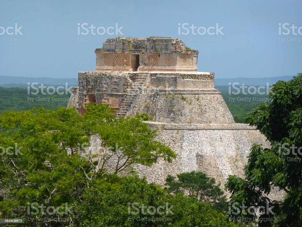 Pyramid at Uxmal in Mexico stock photo