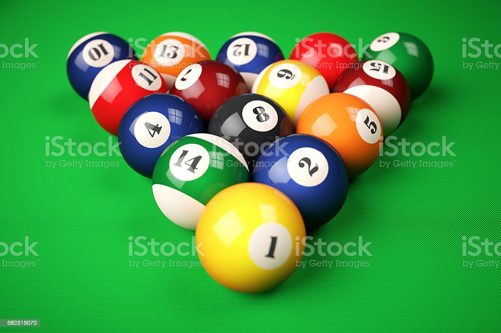 Pyramid balls pool billiard on green table stock photo