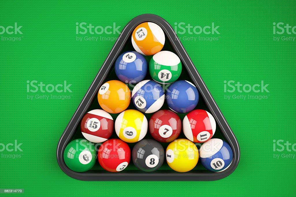 Pyramid balls pool billiard on green table. Top view stock photo