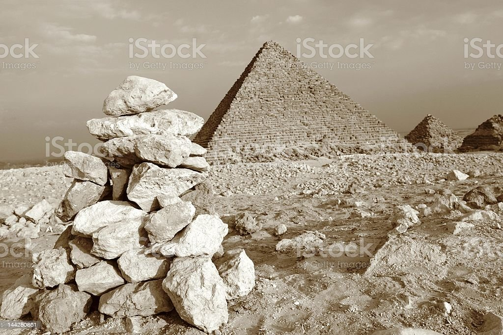 Pyramid building competion royalty-free stock photo