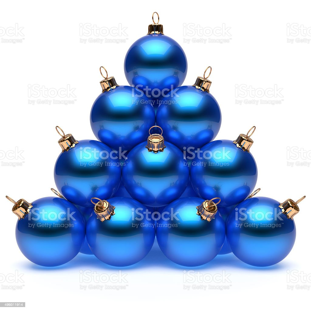 Pyramid christmas ornament - Pyramid Christmas Balls Blue New Year S Eve Baubles Group Royalty Free Stock Photo
