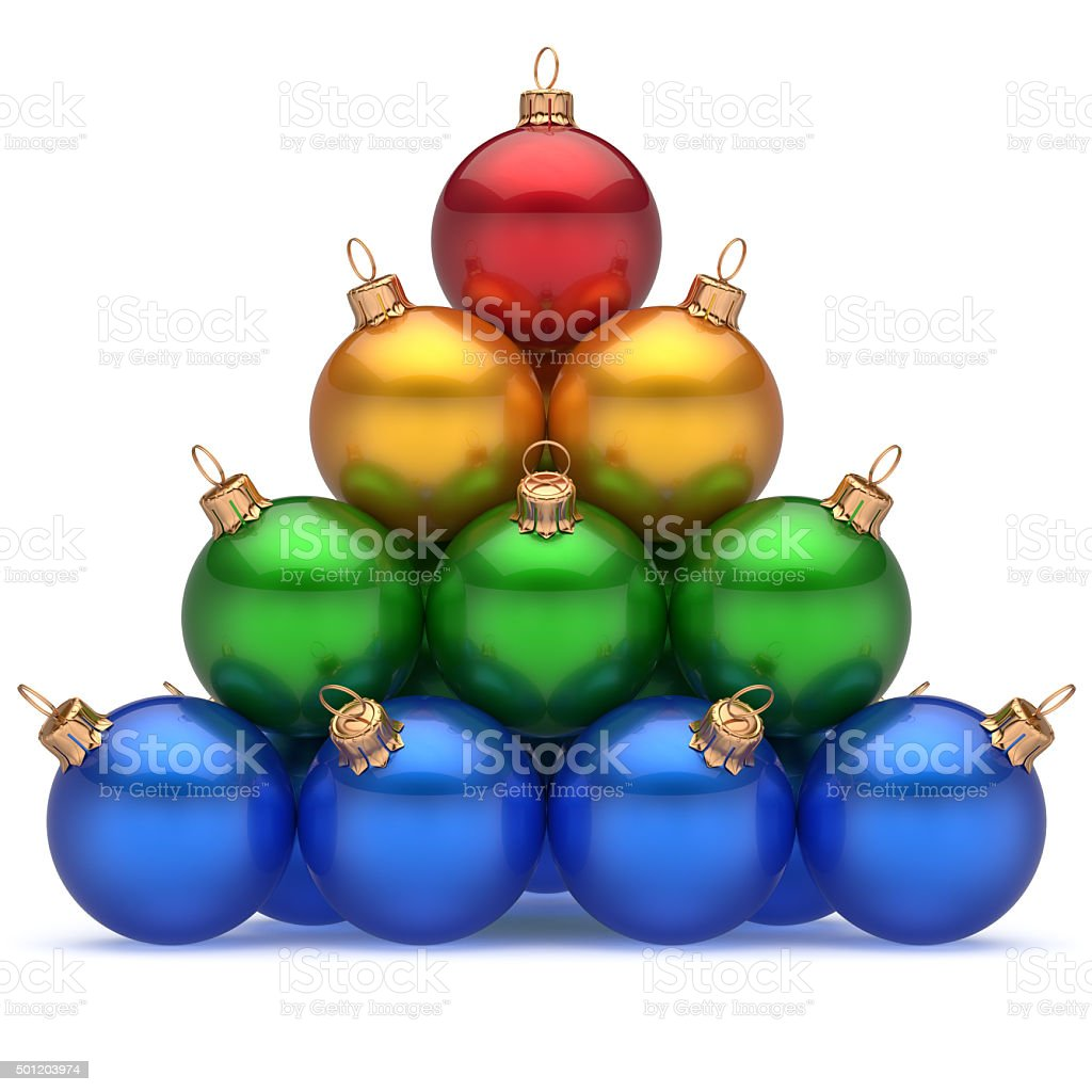 Pyramid christmas ornament - Pyramid Christmas Balls Colorful Top Red Leader First Place Win Royalty Free Stock Photo