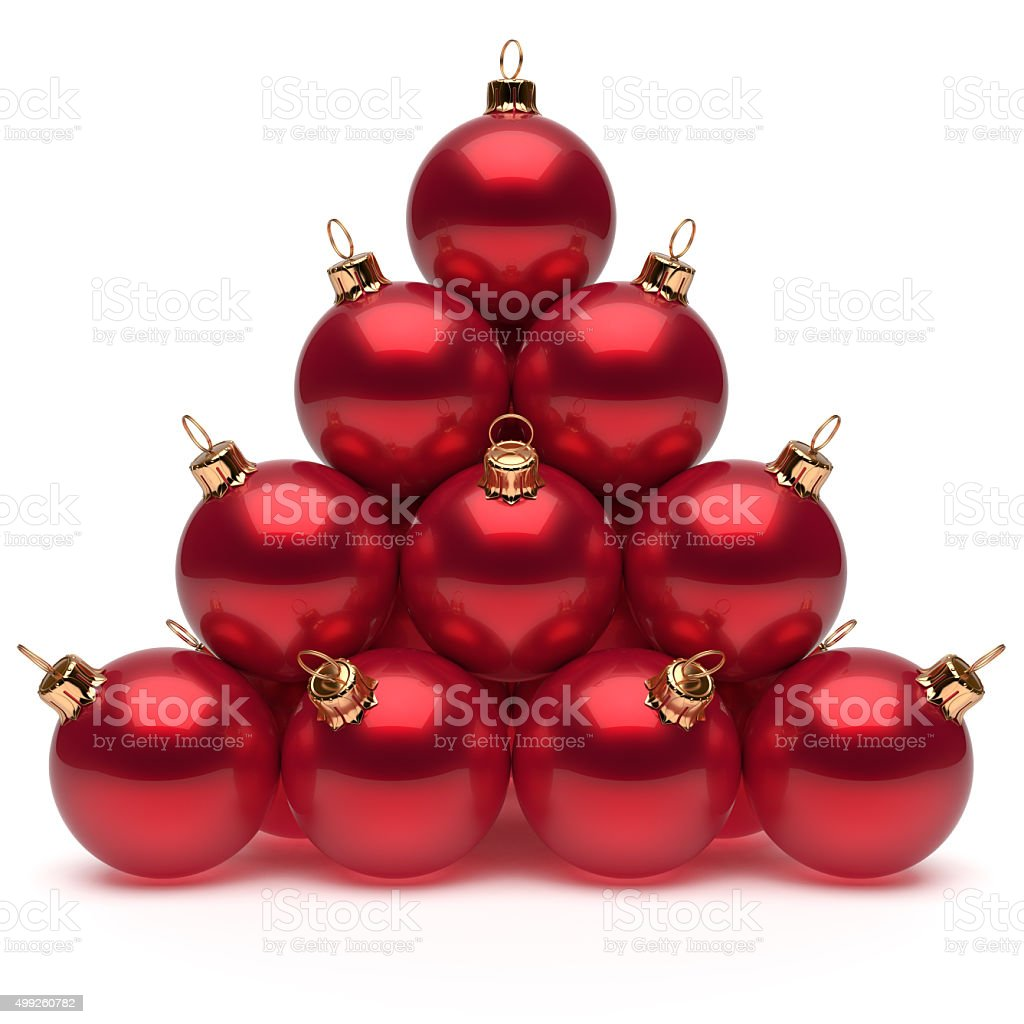 Pyramid Christmas balls red New Year's Eve baubles group stock photo