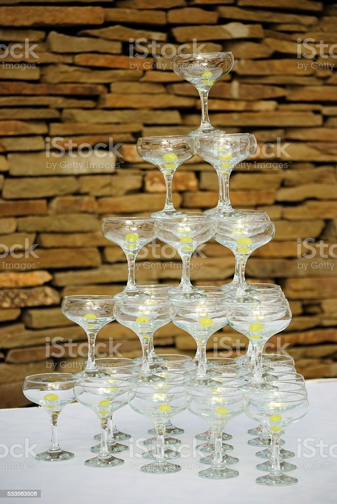 Pyramid from glasses stock photo