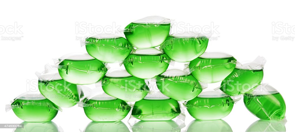 Pyramid from green water bags for ice stock photo