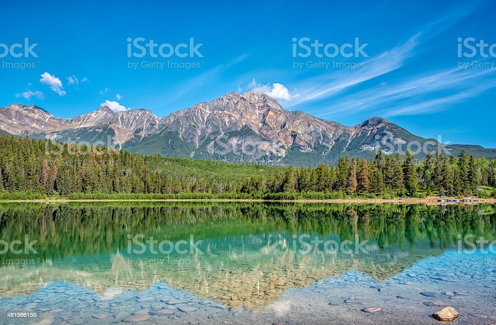 Pyramid Lake and Rockies stock photo