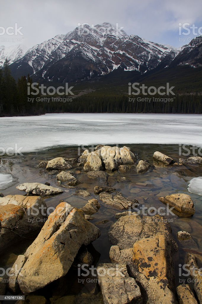 Pyramid lake in spring stock photo
