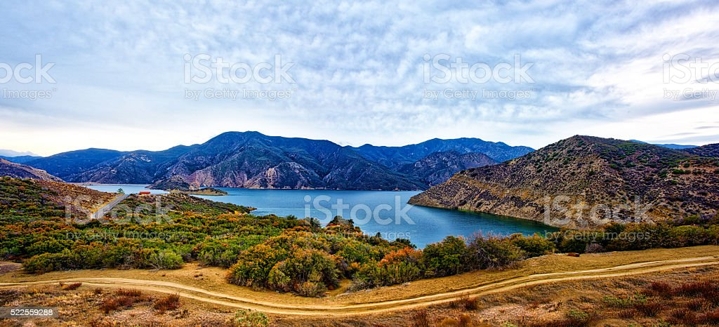 Pyramid Lake In The Mountains Panorama stock photo