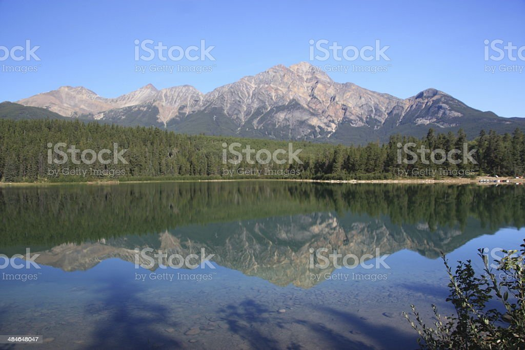 Pyramid Lake, Jasper National Park, Alberta, Canada stock photo
