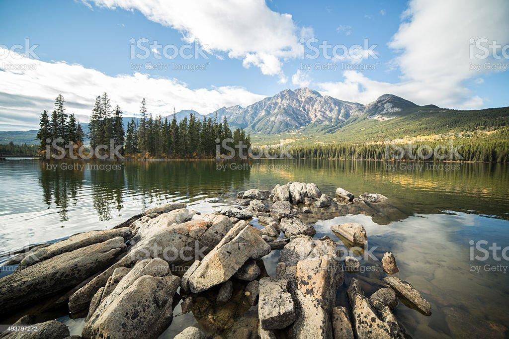Pyramid lake, Jasper national park, Alberta, Canada. stock photo