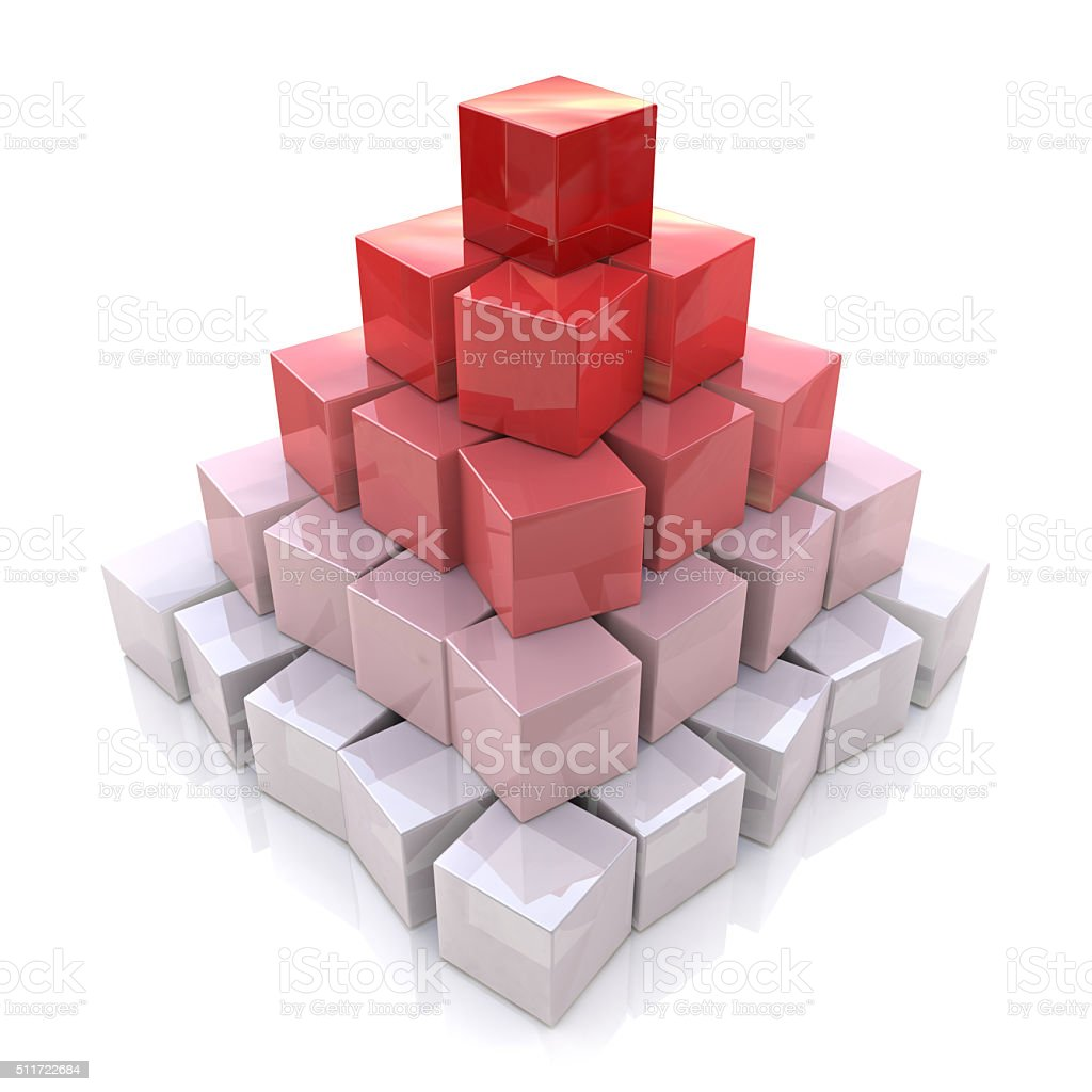 Pyramid levels of cubes stock photo