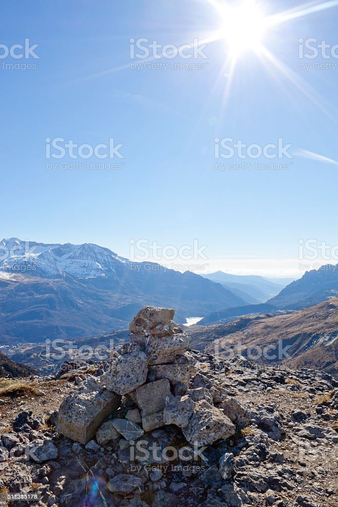 pyramid made of stones in the high of a mountain stock photo