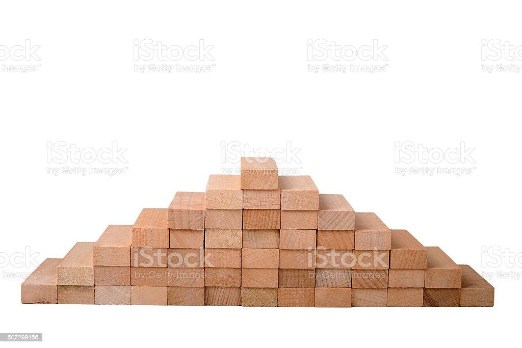 Pyramid Made Of Wood Blocks stock photo