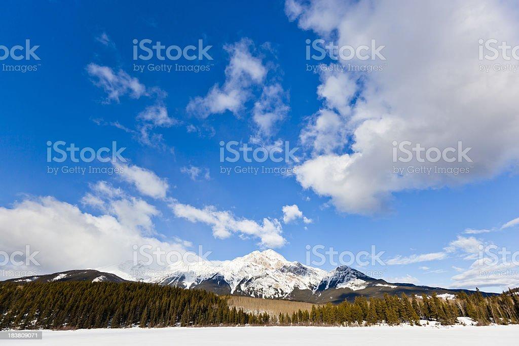 Pyramid Mountain, Alberta, Canada stock photo