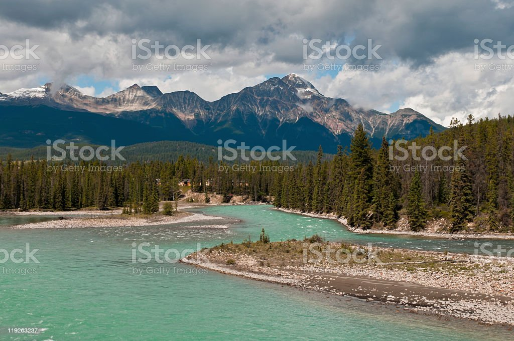 Pyramid Mountain and Athabasca river in Jasper National Park stock photo