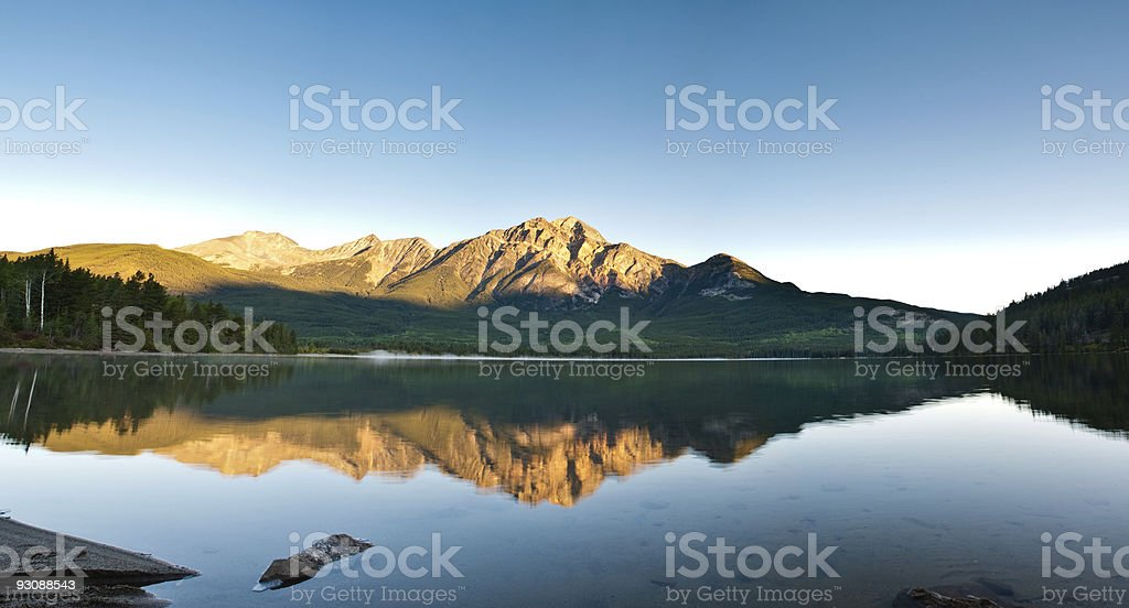 Pyramid Mountain in Jasper national park. stock photo