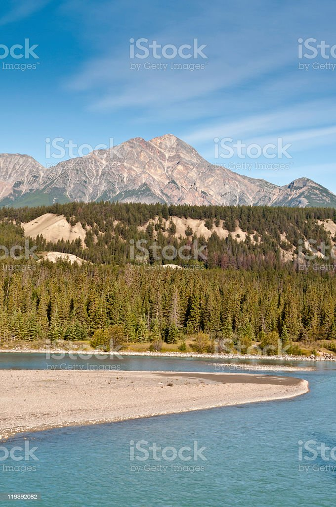 Pyramid mountain in the Canadian rockies. stock photo