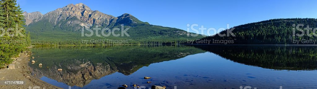 Pyramid Mountain Panoramic in Jasper national park. stock photo