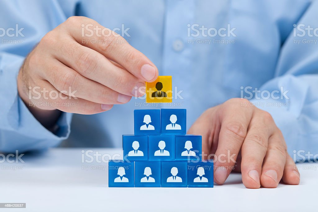 A pyramid of blocks showing a human resources hierarchy stock photo