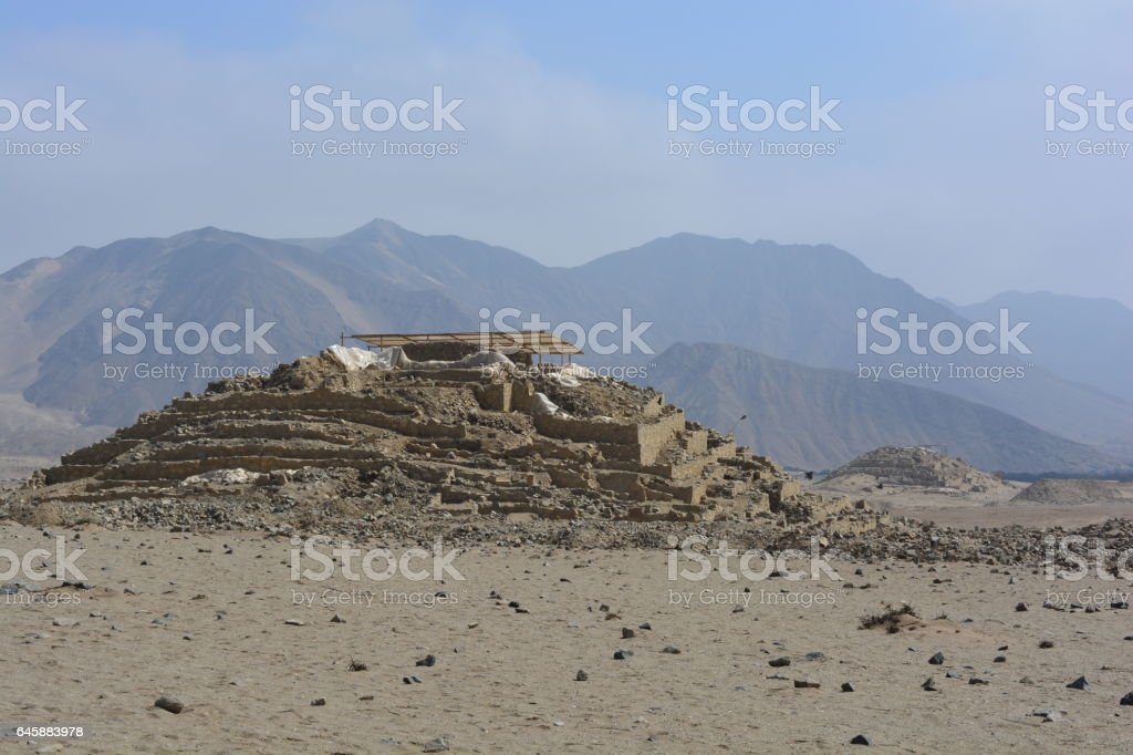 Pyramid of Caral stock photo