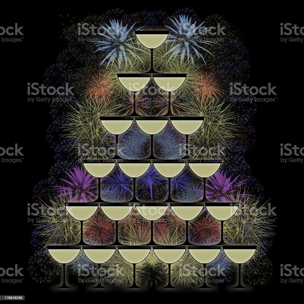 pyramid of champagne glasses on a firework background royalty-free stock photo