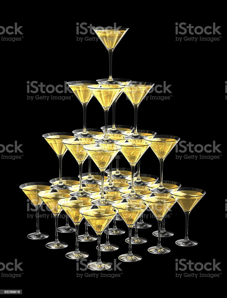 3D pyramid of champagne glasses stock photo