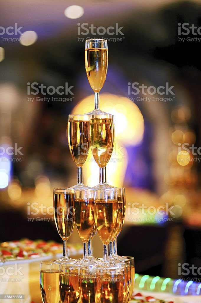 pyramid of glasses of  champagne stock photo