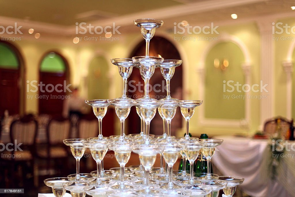 pyramid of glasses of wine, champagne stock photo