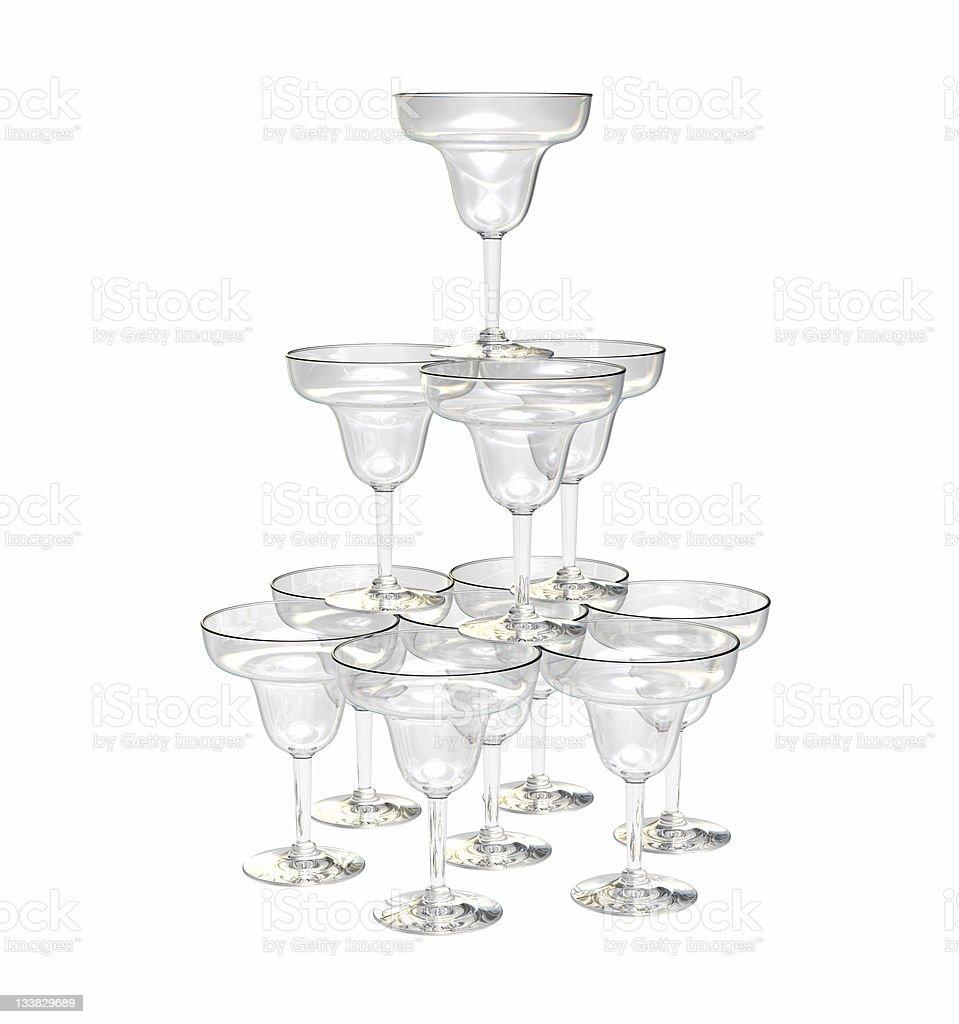 Pyramid of glasses stock photo