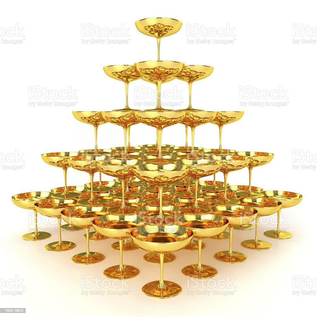 Pyramid of Golden Glasses stock photo