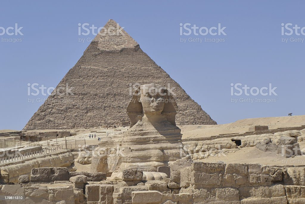 Pyramid of Khafre and Great Sphinx in Giza royalty-free stock photo