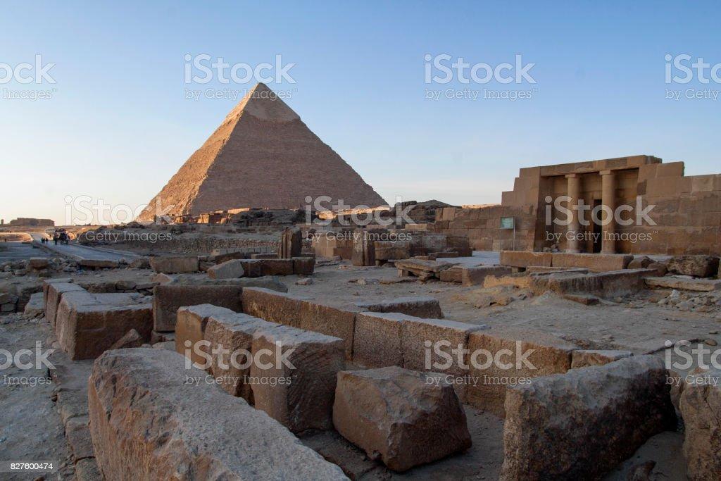 Pyramid of Khafre and old monuments at Giza plateau. stock photo
