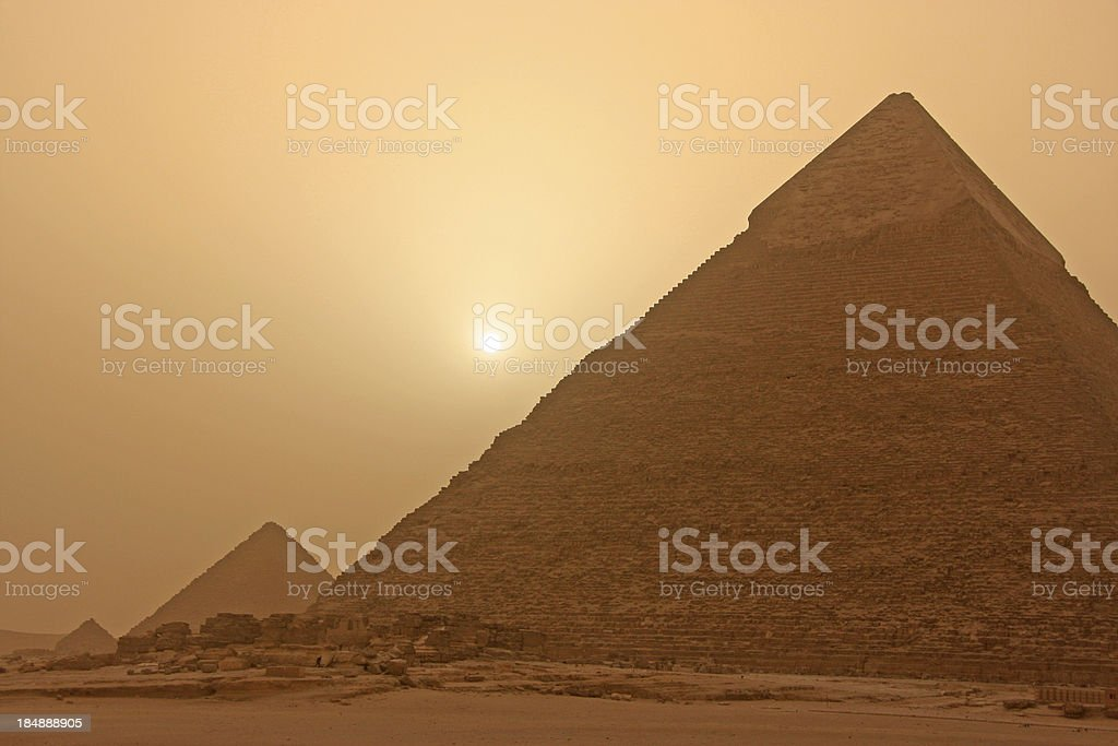 Pyramid of Khafre at sand storm, Cairo, Egypt royalty-free stock photo