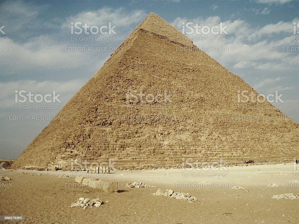 Pyramid of Khafre at the Giza Plateu in Egypt stock photo