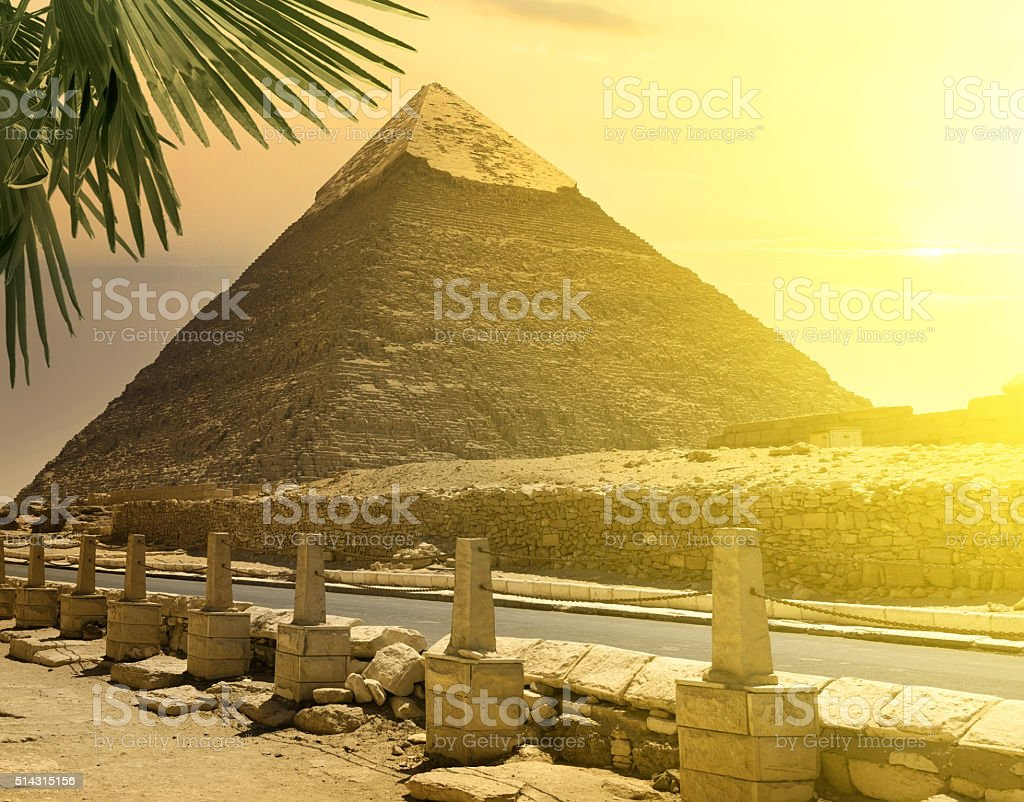 Pyramid of Khafre near road stock photo