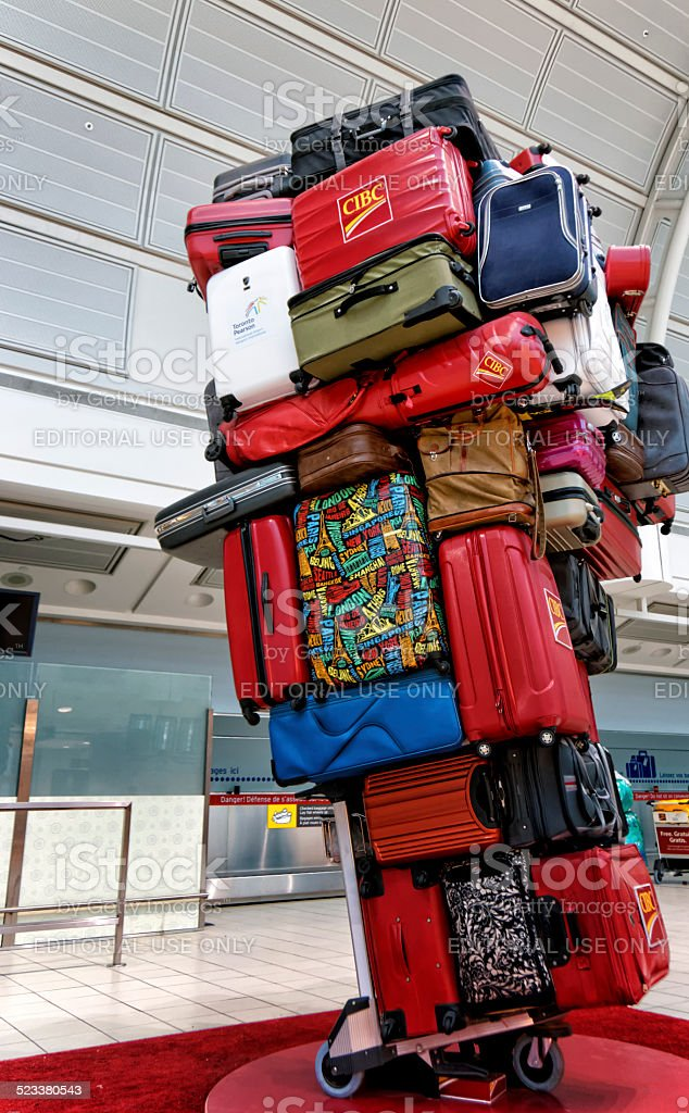 Pyramid of luggages on a trolley stock photo
