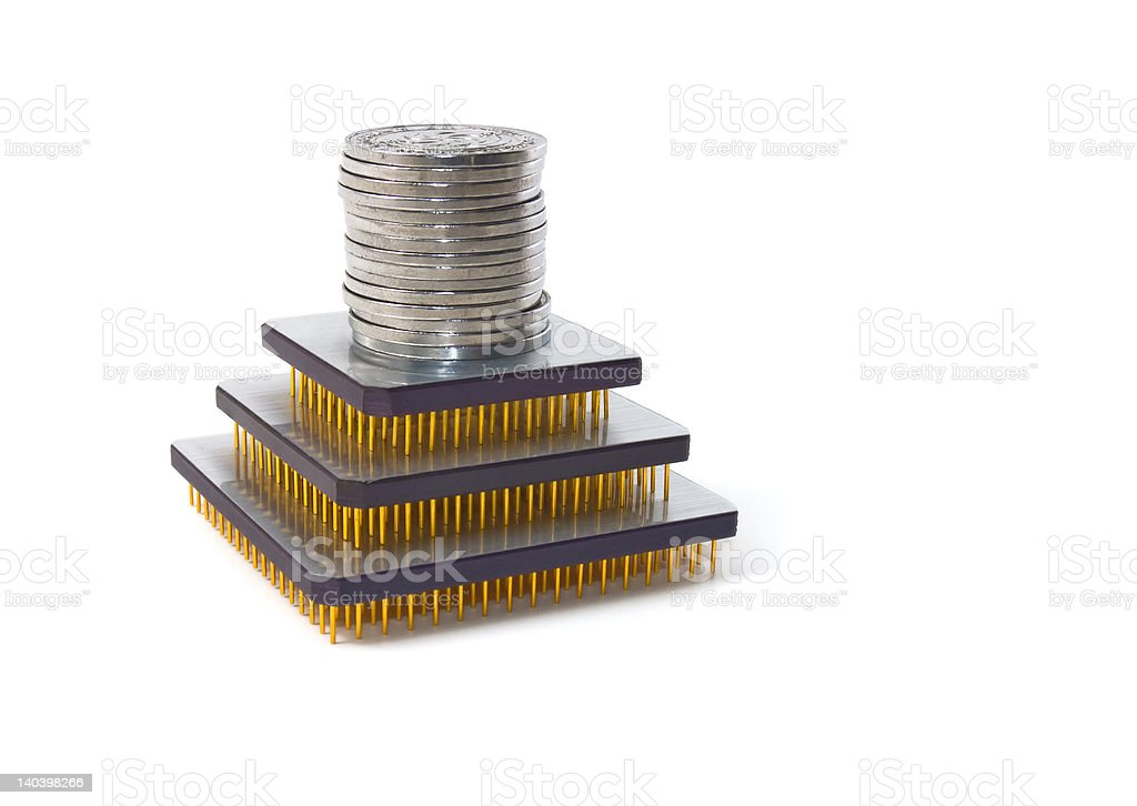 Pyramid of money and CPUs stock photo