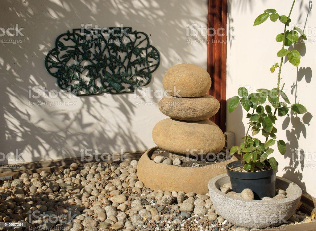 Pyramid of round stones stock photo