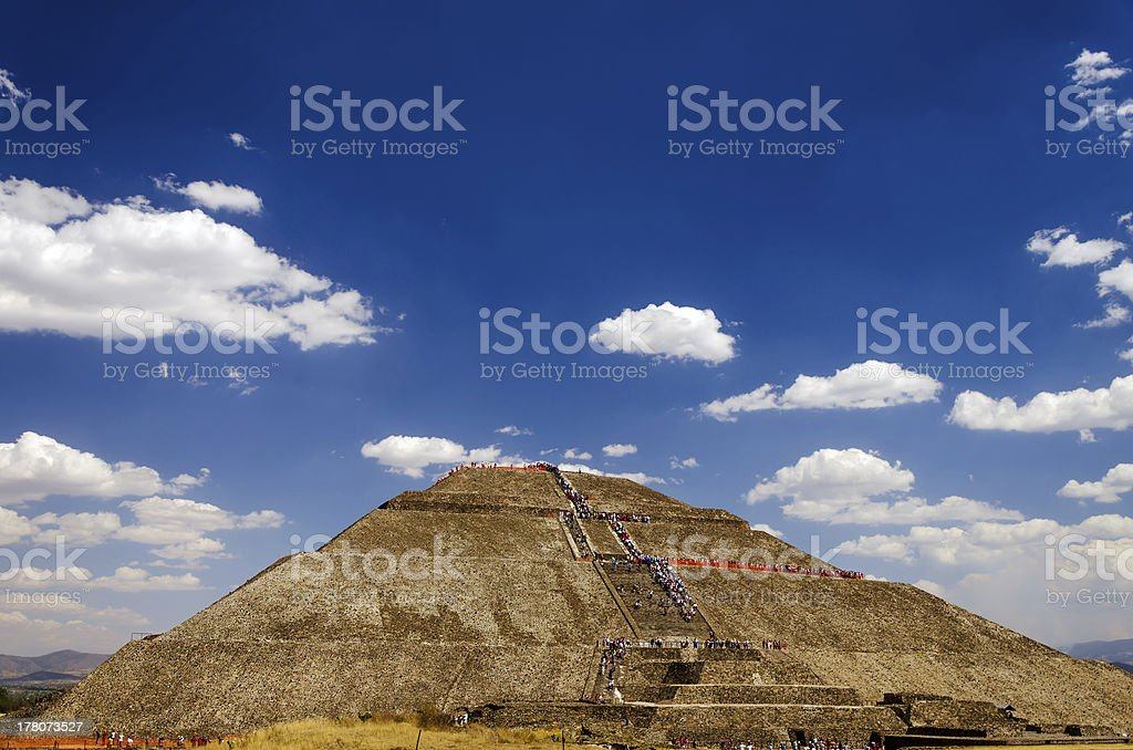 Pyramid of the Sun and Blue Sky stock photo