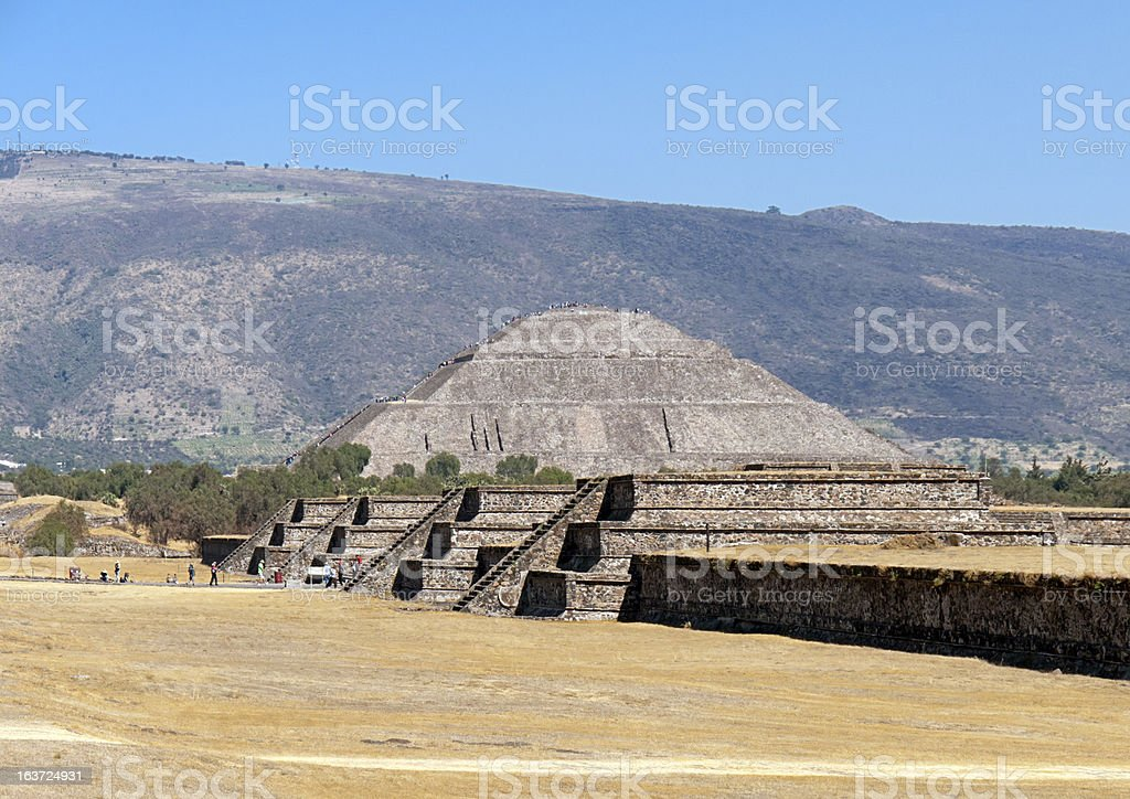Pyramid of the Sun in Teotihuacan Mexico stock photo