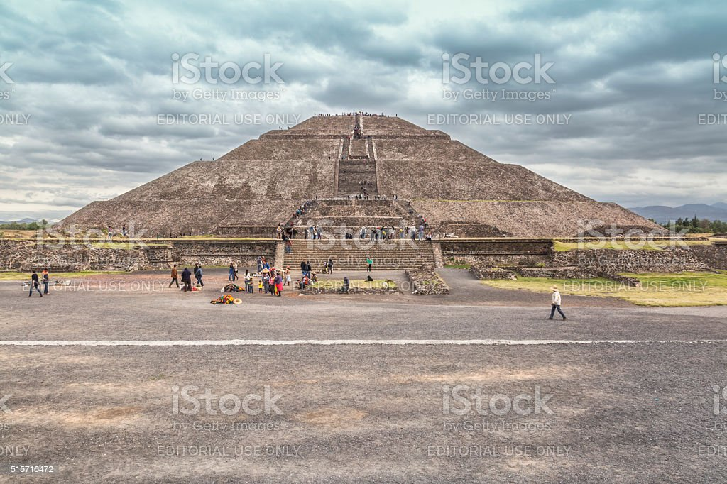 Pyramid of The Sun in Teotihuacan stock photo