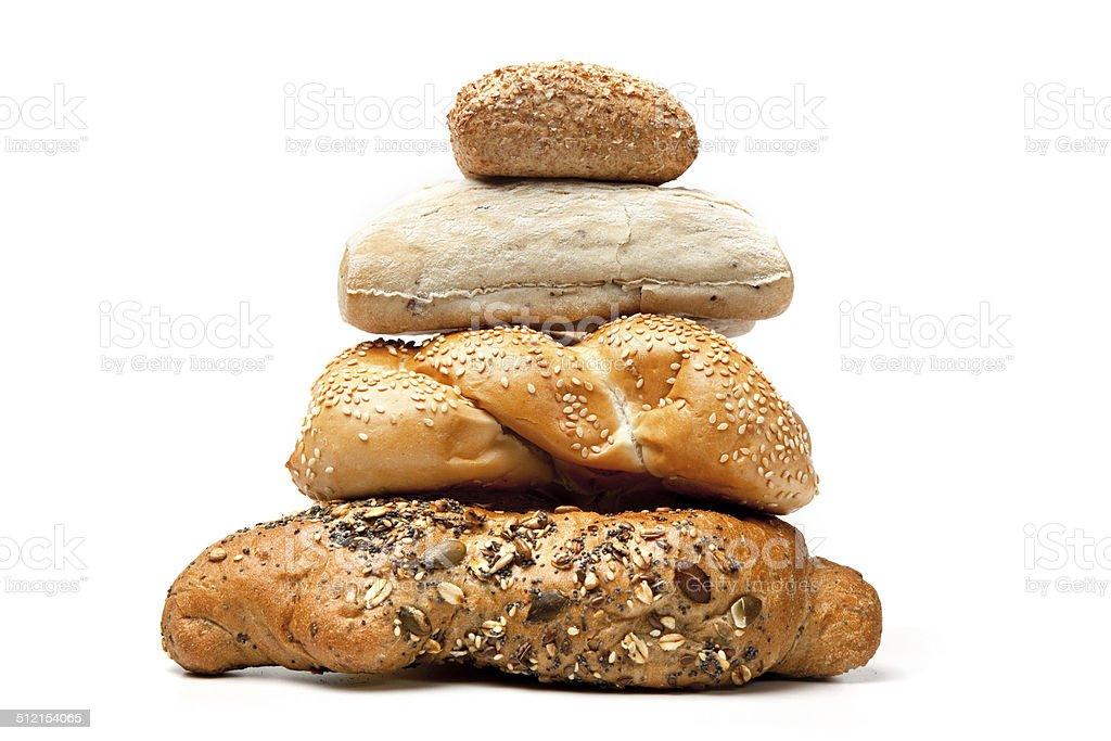 pyramid of variety breads stock photo