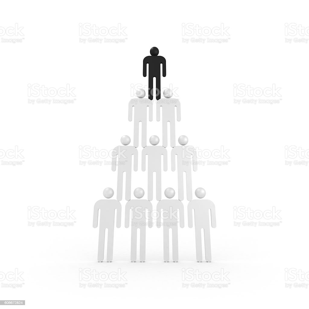 Pyramid of white abstract people with one black stock photo