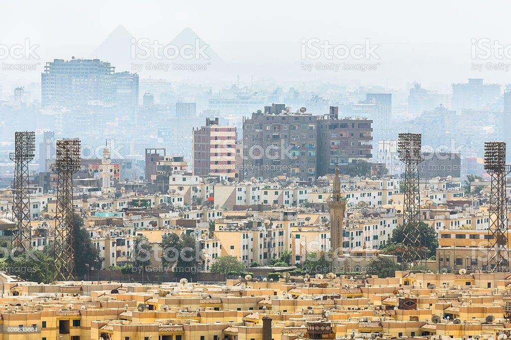 Pyramid Silhouettes Over Cairo stock photo