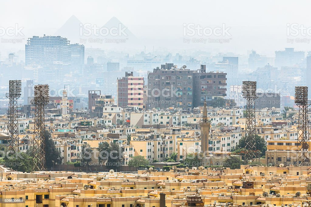 Pyramid Silhouettes Over Cairo stock photo