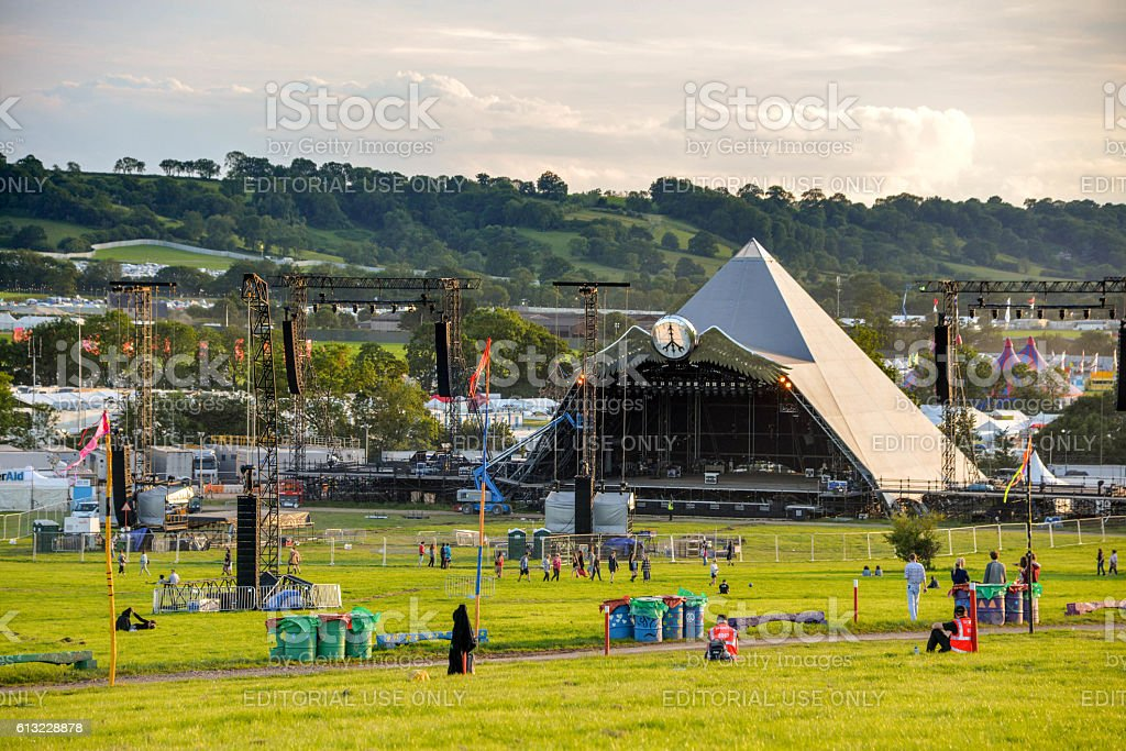 Pyramid stage at the Glastonbury festival 2015. stock photo