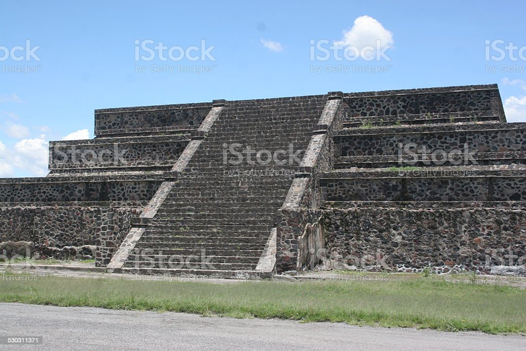 Pyramid steps at TeoTehuacan, Mexico stock photo